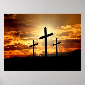 Calgary Crosses Sunrise Photo Poster