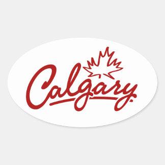 Calgary Leaf Script Oval Sticker