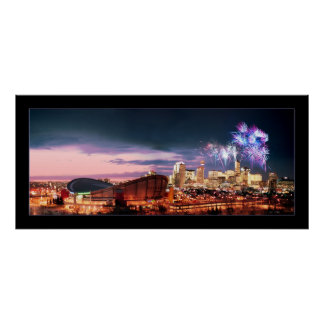 Calgary panoramic with Fireworks. Poster