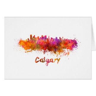 Calgary skyline in watercolor card