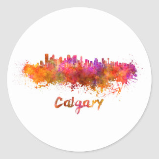 Calgary skyline in watercolor classic round sticker