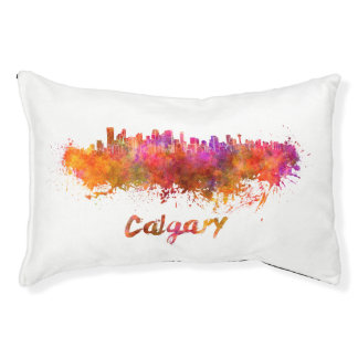 Calgary skyline in watercolor pet bed