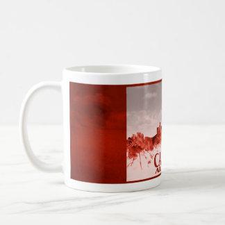 Calgary skyline with red grunge basic white mug