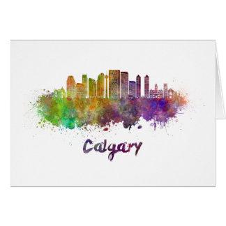Calgary V2 skyline in watercolor Card