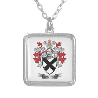 Calhoun Family Crest Coat of Arms Silver Plated Necklace