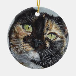 Cali Calico Tortoiseshell cat painting art Ceramic Ornament