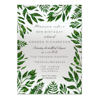 Cali Green Glitter Leafs Floral Frame Gray Silver Card