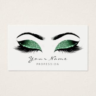 Cali Green Glitter Makeup Artist Lash Black White Business Card