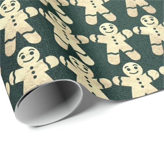 Cali Green Gold Christmas Ginger Bread Guy Wrapping Paper