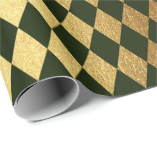 Cali Green Gold Geometry Chessboard Diamond Cut Wrapping Paper
