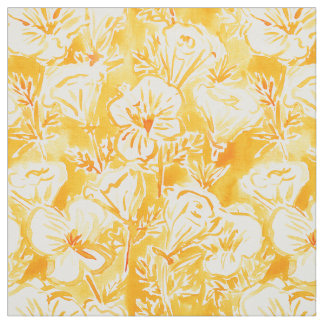 CALI POP Yellow Poppy Floral Watercolor Fabric