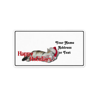 Cali the Calico Christmas Cat (With Text) Label