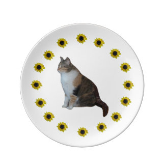 Calico Cat And Sunflowers Plate