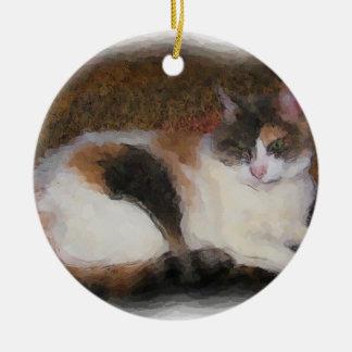 Calico Cat Ceramic Ornament