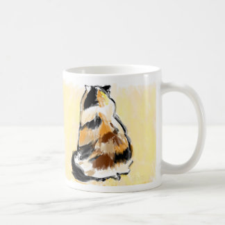 Calico cat from back coffee mug