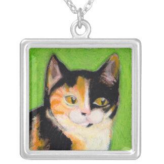 Calico cat kitten art fun cute original drawing personalized necklace