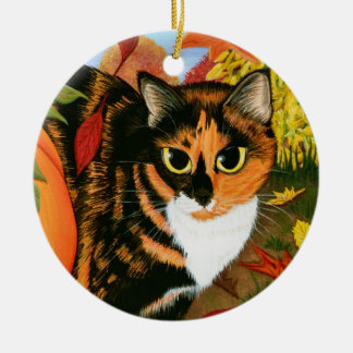 Calico Cat Leaves Fall Autumn Art Ornament