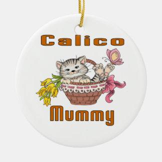 Calico Cat Mom Ceramic Ornament
