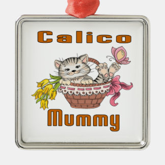 Calico Cat Mom Metal Ornament