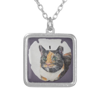 Calico Cat on Sand Dollar Necklace
