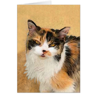 Calico Cat Painting - Cute Original Cat Art Card