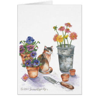"Calico Cat Pansies Daisies Watercolor ""Don Juan"" Card"