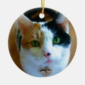 Calico Cat Round Ceramic Decoration