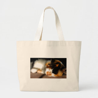 Calico Cat Sunning Large Tote Bag
