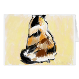 Calico cat viewed from the back card