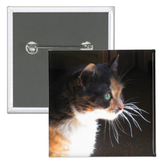 Calico Cat Whiskers Pinback Button