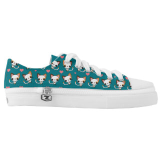Calico Cat with Pink Hearts Low Tops