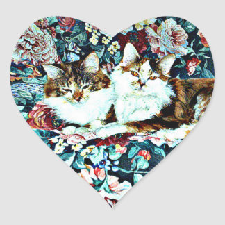 Calico Cats on Flower Chair Heart Sticker