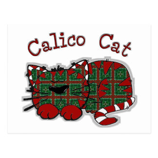 Calico Christmas Cat Postcard