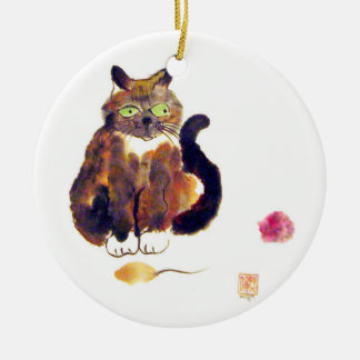 Calico Colors - kitty has two toys Ceramic Ornament
