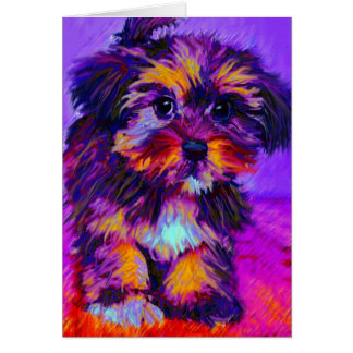 calico dog card