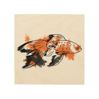 Calico Fish Wood Print