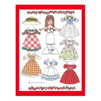 Calico Girl Betsy Old-Fashioned Paper Doll Postcard