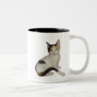 Calico Kitten Cutout Two-Tone Coffee Mug