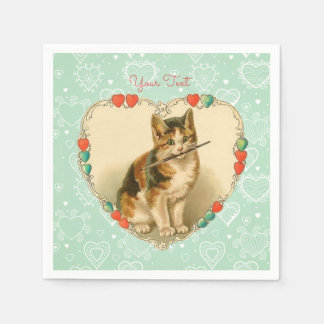 Calico Kitten Valentine Hearts Paper Napkins