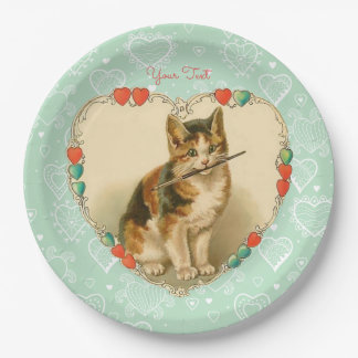 Calico Kitten Valentine Hearts Paper Plate