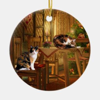 Calico kitties Christmas Ceramic Ornament