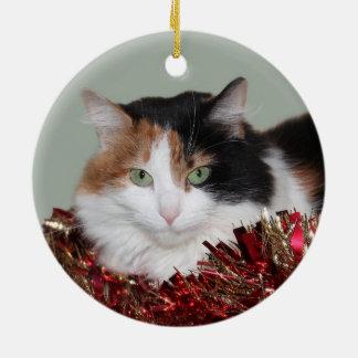 Calico kitty Christmas Ceramic Ornament