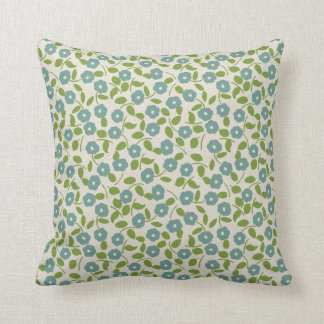 Calico Print Floral Pattern Blue Green Cream Cushion