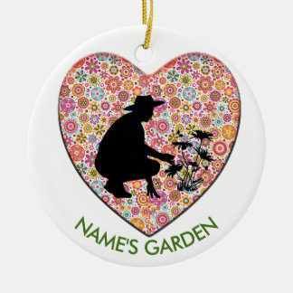 Calico Print Heart with Silo of Gardener CIRCLE Ceramic Ornament