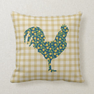 Calico Rooster Gingham Pattern Blue Yellow Green Cushion