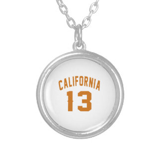 California 13 Birthday Designs Silver Plated Necklace