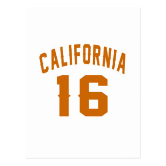 California 16 Birthday Designs Postcard