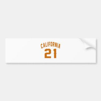California 21 Birthday Designs Bumper Sticker