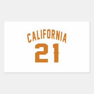 California 21 Birthday Designs Rectangular Sticker