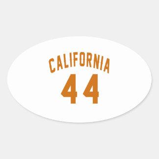 California 44 Birthday Designs Oval Sticker